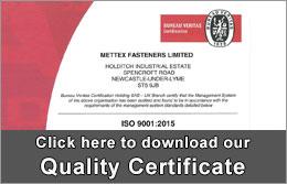 Download Mettex Fastener's Quality Certificate